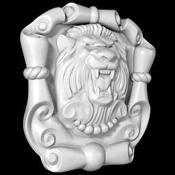 МАФ-02 Лев с картушем. Раздел: Фасадный декор, фасадная лепнина, классический стиль, стеклофибробетон